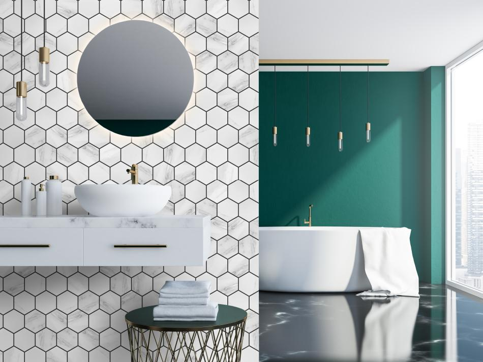 Mozaika Heksagon Marble mat XL - Raw Decor