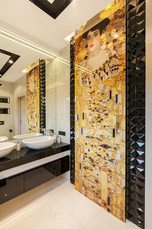 Fototapeta w łazience z dużym lustrem