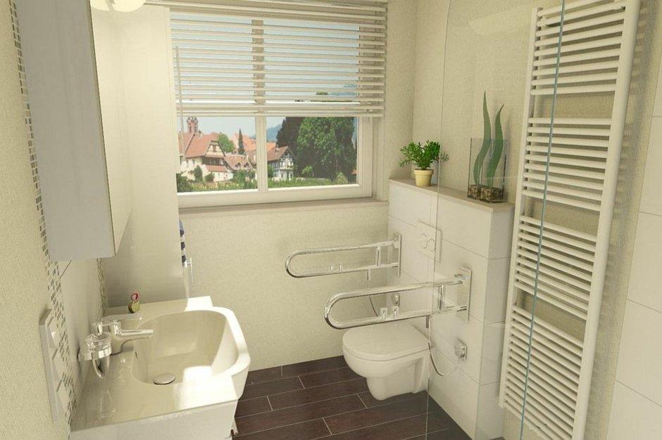 Projekt łazienki dla niepłnosprawnych wykonany w programie PaletteCAD