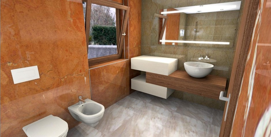 Projekt łazienki z podświetlanym lustrem wykonany w programie PaletteCAD