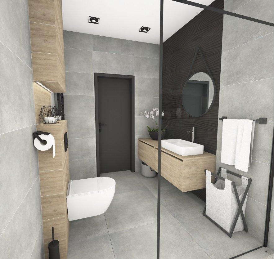 Projekt nowoczesnej łazienki wykonany w programie PaletteCAD