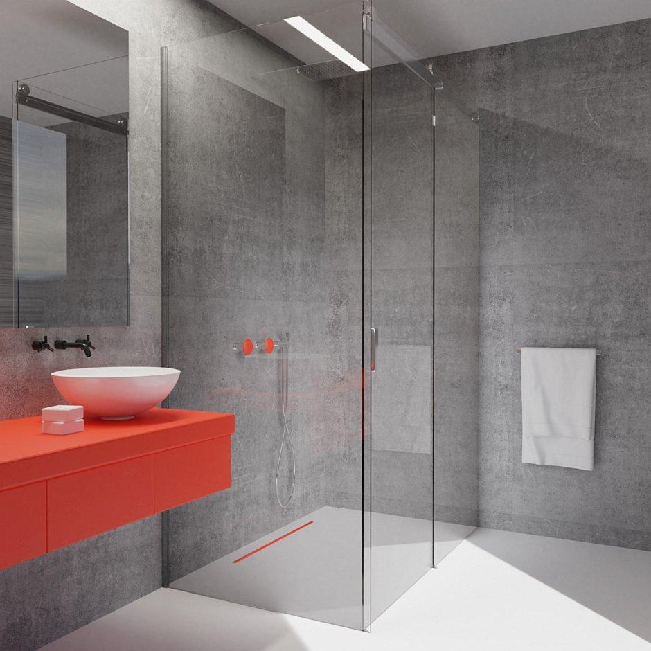Aranżacja łazienki z odpływem liniowym Perfect Stick Color Red