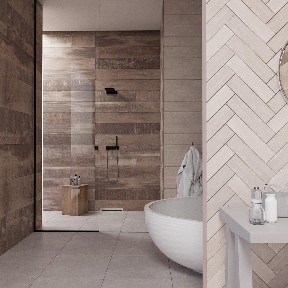 Aranżacja łazienki z odpływem ściennym Wall Slim Steel - stal szczotkowana