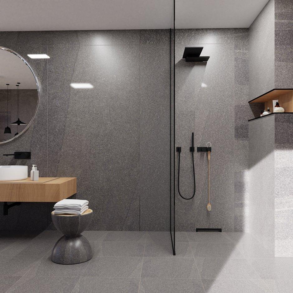 Aranżacja łazienki z odpływem ściennym Wall Slim Black - stal czarna