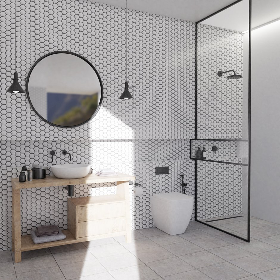 Aranżacja łazienki z odpływem liniowym Super Slim Black - Idea