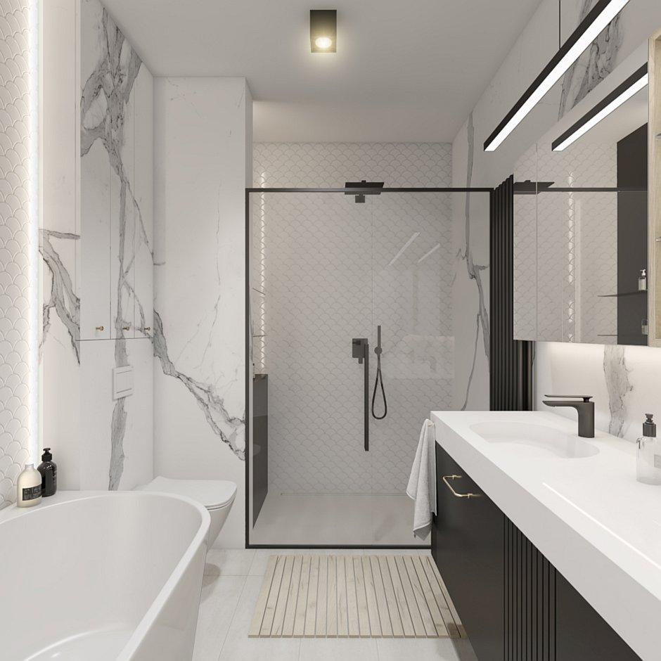 Płytki łuski białe pod prysznicem