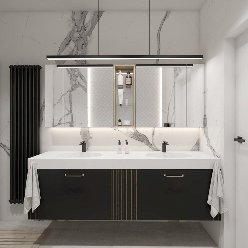 Szafka z lustrzanymi frontami w biało-czarnej łazience