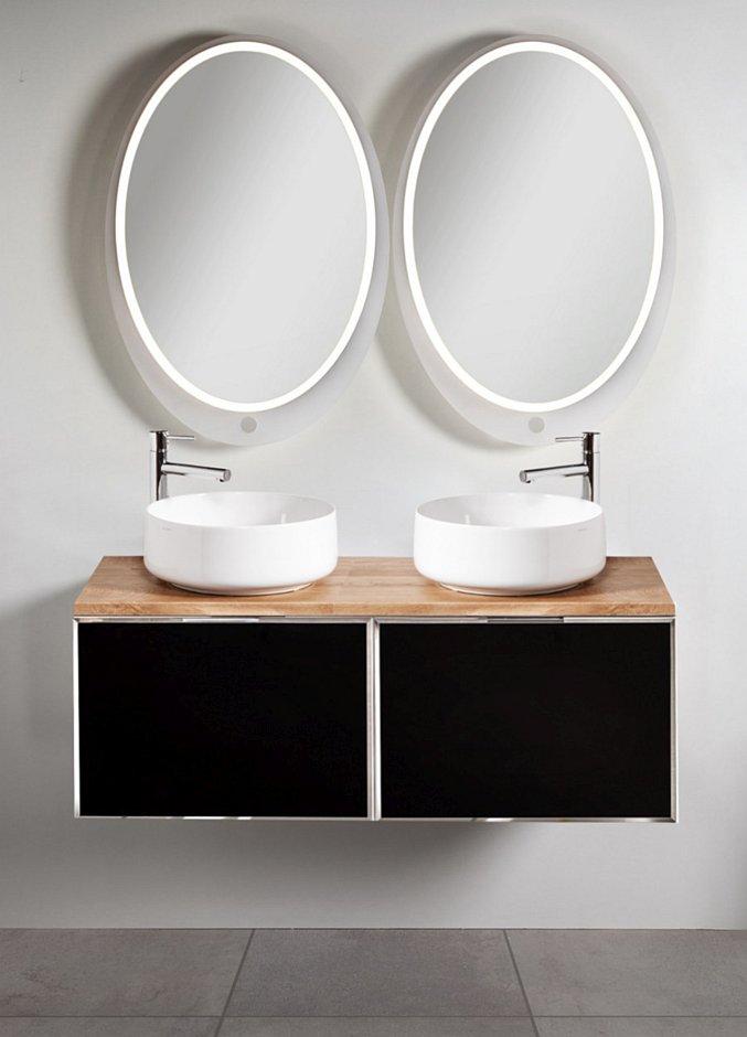 Szafki łazienkowe Delta 2x60cm kolor frontu czarny z blatem dąb classic