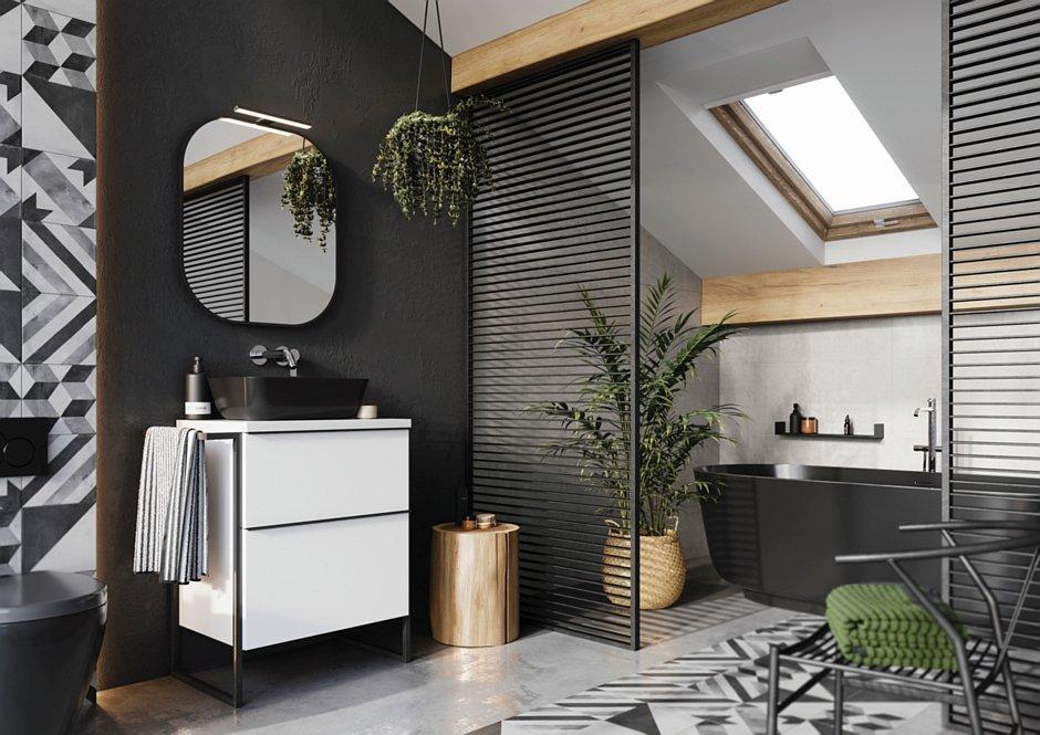 Kolekcja Look z umywalką nablatową Reni black matt