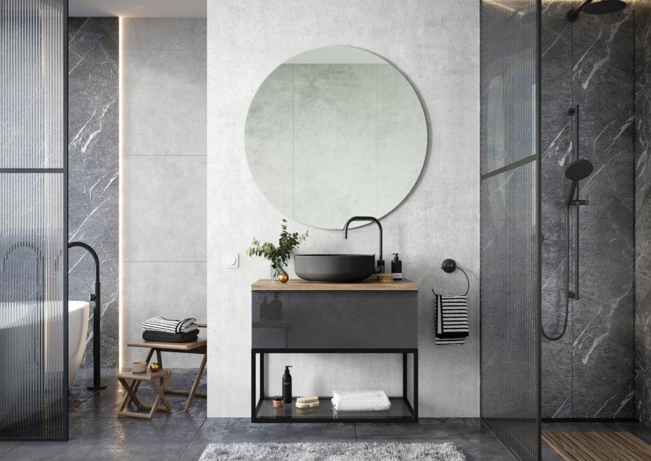 Kolekcja Look z umywalką nablatową Lorca anthracite matt