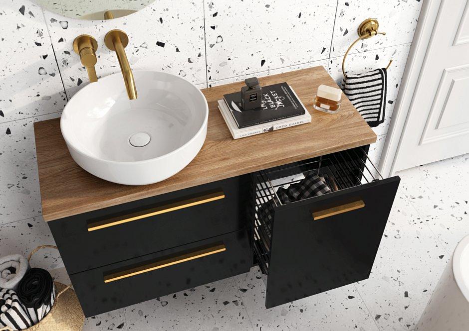 Kolekcja Kwadro black z umywalką nablatową