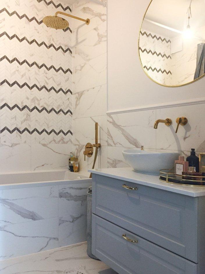 Złota armatura podtynkowa w łazience