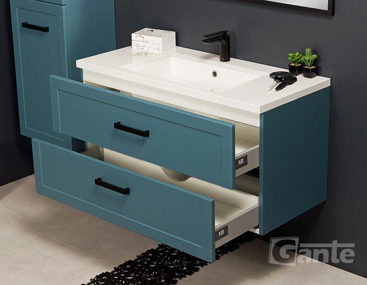 Niebieskie meble łazienkowe Meiva szafka 100 cm