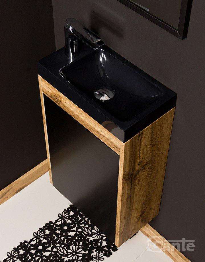 Mała szafka do łazienki w kolorze czarnego matu i naturalnego drewna - kolekcja Cler Loft