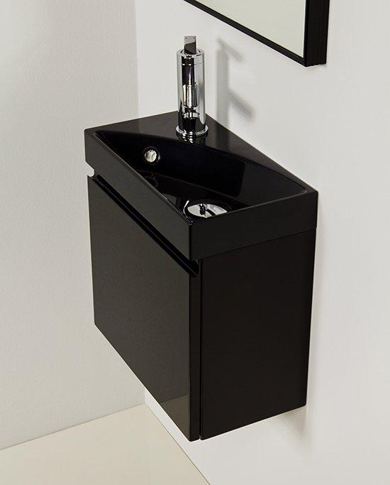 Cler - mała szafka łazienkowa czarny połysk