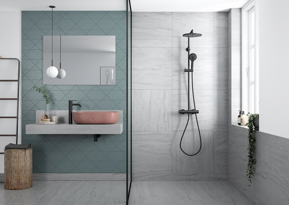 Zestaw prysznicowy termostatyczny oraz bateria umywalkowa kolekcja Silhouet wykończenie matowa czerń