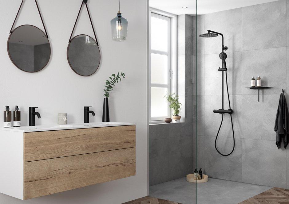 Zestaw prysznicowy termostatyczny i baterie umywalkowe Silhouet