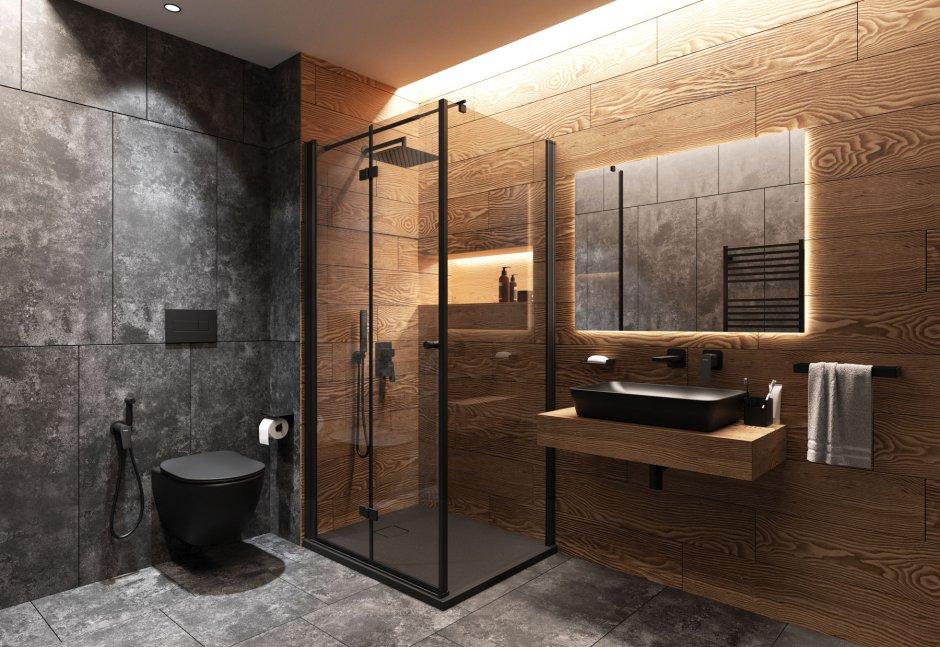 Umywalka i miska WC w czarnym matowym kolorze z kolekcji Tess