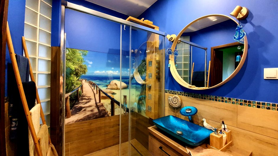 Fototapeta z motywem plaży w strefie prysznica