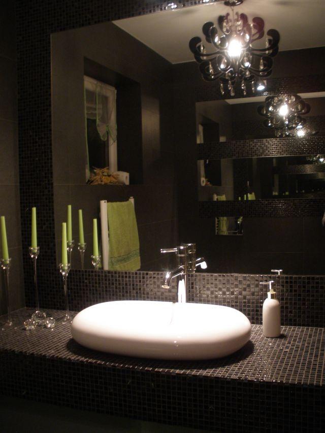 selena31 - galeria - łazinka w ciemnych kolorach z zielonymi dodatkami - Łazienkowe inspiracje ...