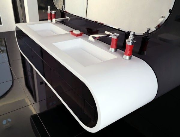 szafka Luxum GOOGLE z podwójną umywalką z odpływami liniowymi
