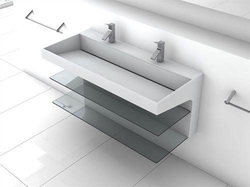 umywalka podwójna z Corianu typu Plavis Design, rozmiar 110x50x50cm