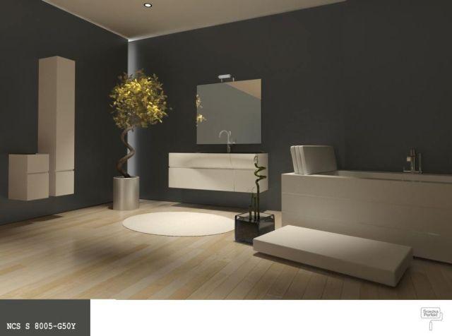 łazienka ze ścianami w ciemnym, nasyconym kolorze