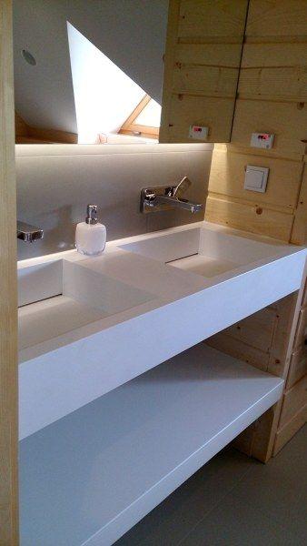 podwójna umywalka Luxum z odpływem liniowym