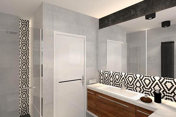 Czarno Białe Wzory Z Mozaiką Hexagonic Podłogi I ściany