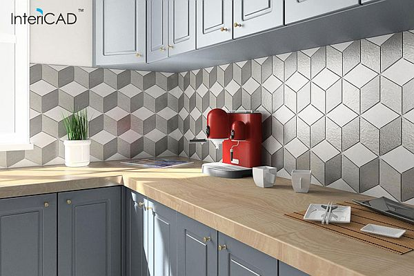 Mozaika heksagonalna w 3 kolorach - Akademia InteriCAD