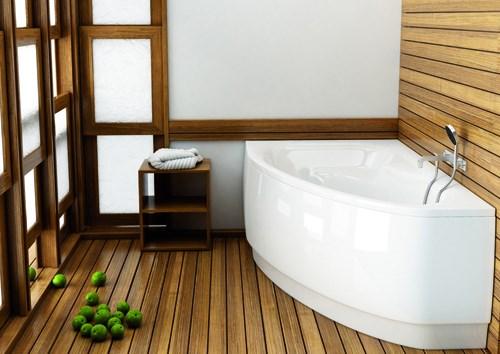 drewno w łazience - drewniana podłoga