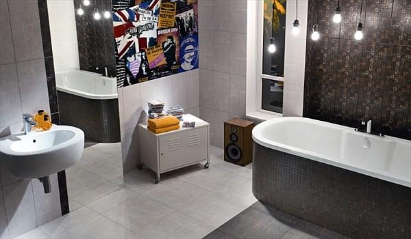 Tubądzin - aranżacja łazienki z płytkami łazienkowymi z kolekcji Modern Punk