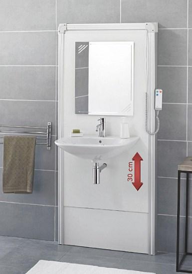 SFA - panele ścienne Sanimatic pozwalające na podwyższanie i obniżanie wysokości umywalki