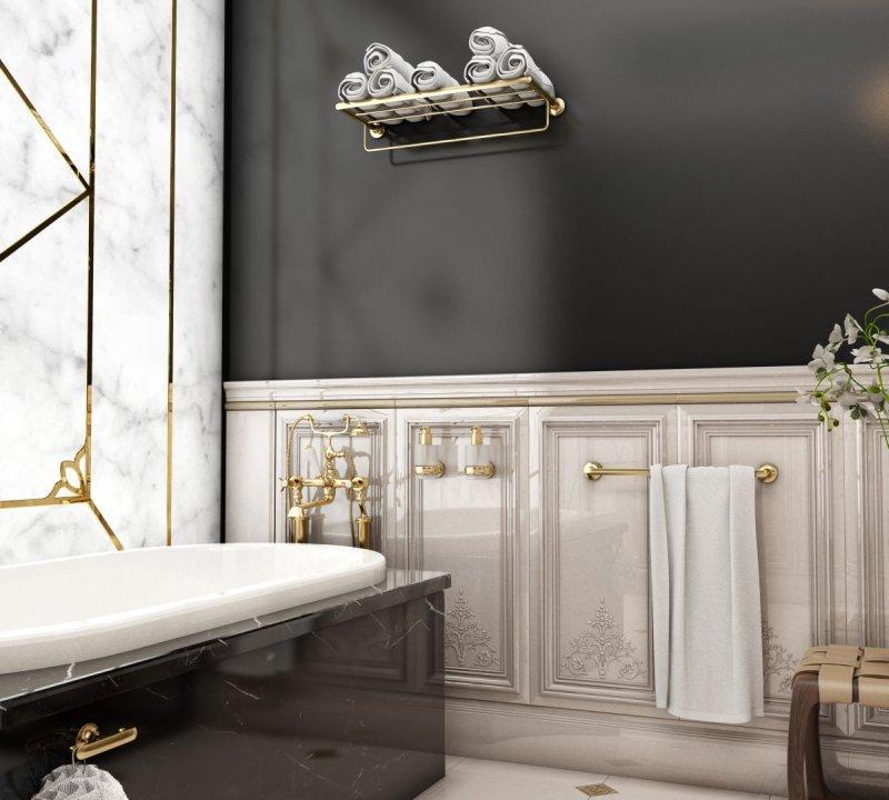 Dodatki łazienkowe W Złotym Wykończeniu Meble I Akcesoria