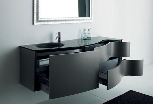 czarna umywalka z blatem Luxum