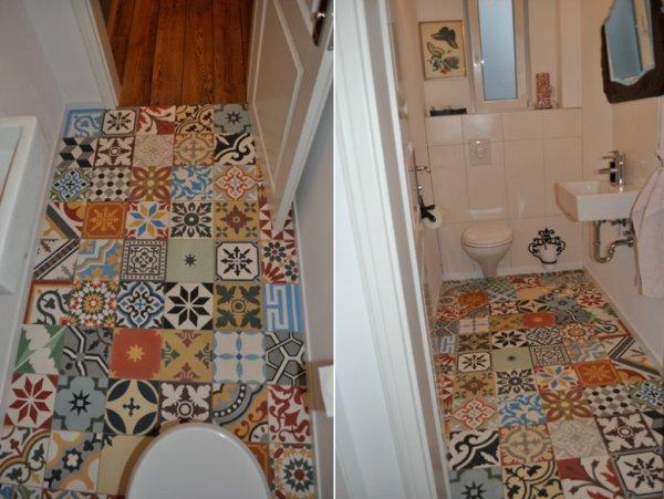 Podłoga w łazience wyłożona cementowymi płytkami Arctima Patchwork Kolor