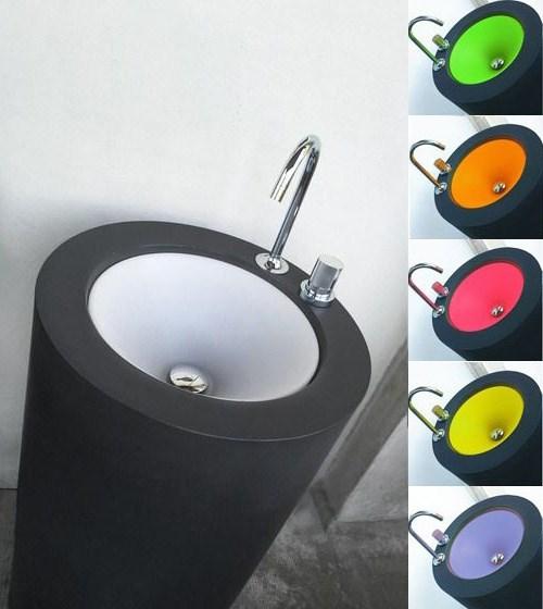 czarna umywalka  z kolorowym wypełnieniem