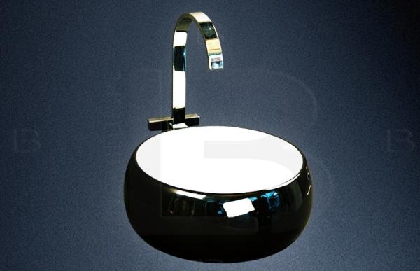 czarna umywalka nablatowa Lineablue