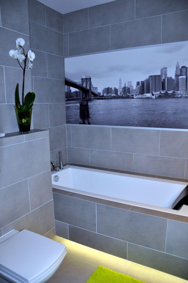dekoracje ścienne w łazience - Motyw miasta
