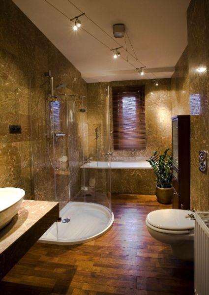 łazienka w kamieniu, kamień na ścianach w łazience
