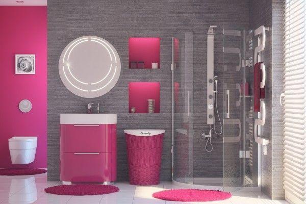 Meble łazienkowe z kolorowymi frontami - różowe