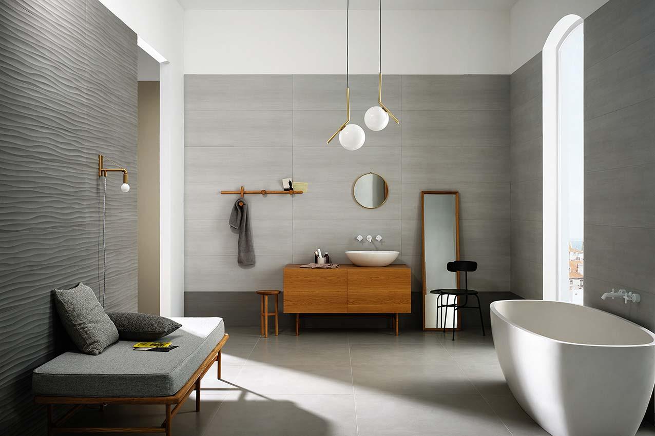 Łazienka w kolorze szarym kolekcja Materika Marazzi