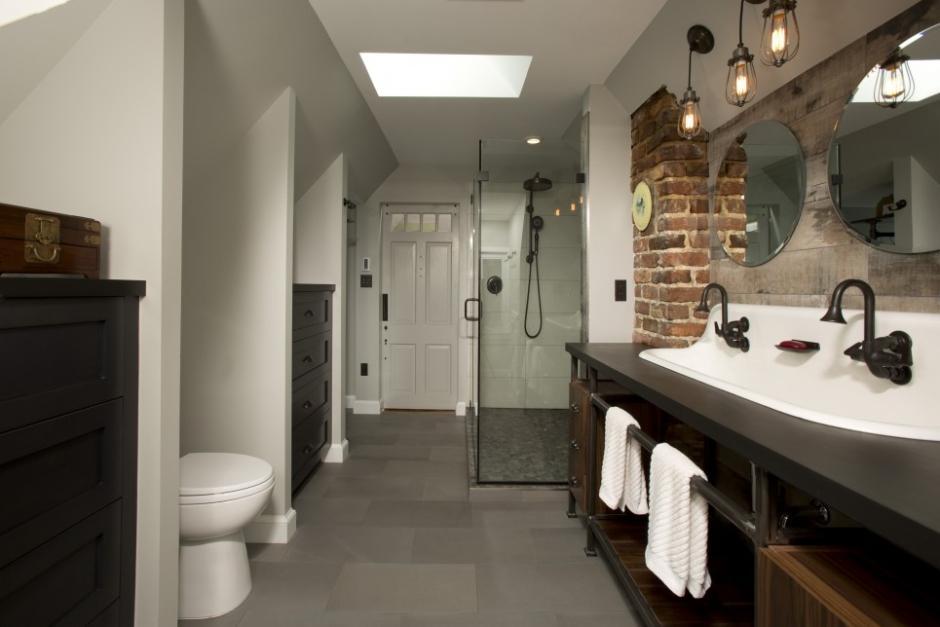 attic ensuite ideas - Styl industrialny w łazience style w łazience lazienkowy