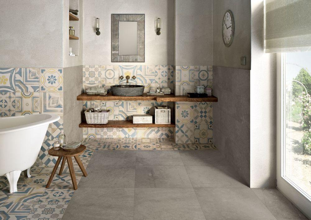 Łazienka z płytkami patchwork Cementine Keope