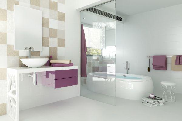 Nowoczesna łazienka - patchworkowy wystrój