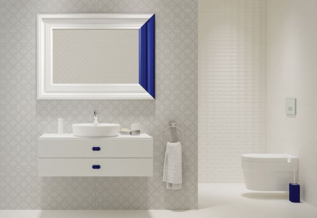 Lustro nawiązujace do wystroju łazienki