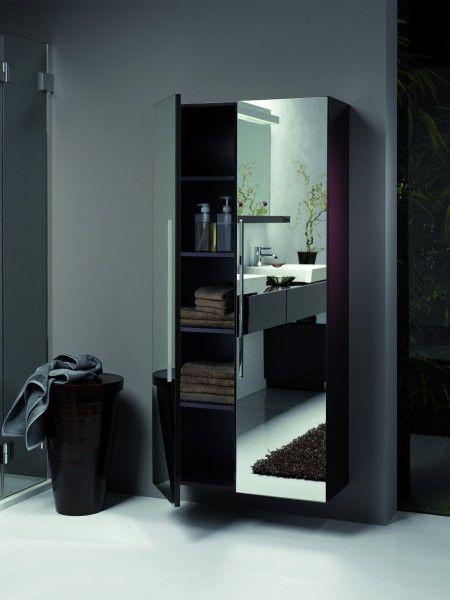 Sanitec KOŁO - szafka łazienkowa z serii iCon Keramag z dzrwiami z lustrem