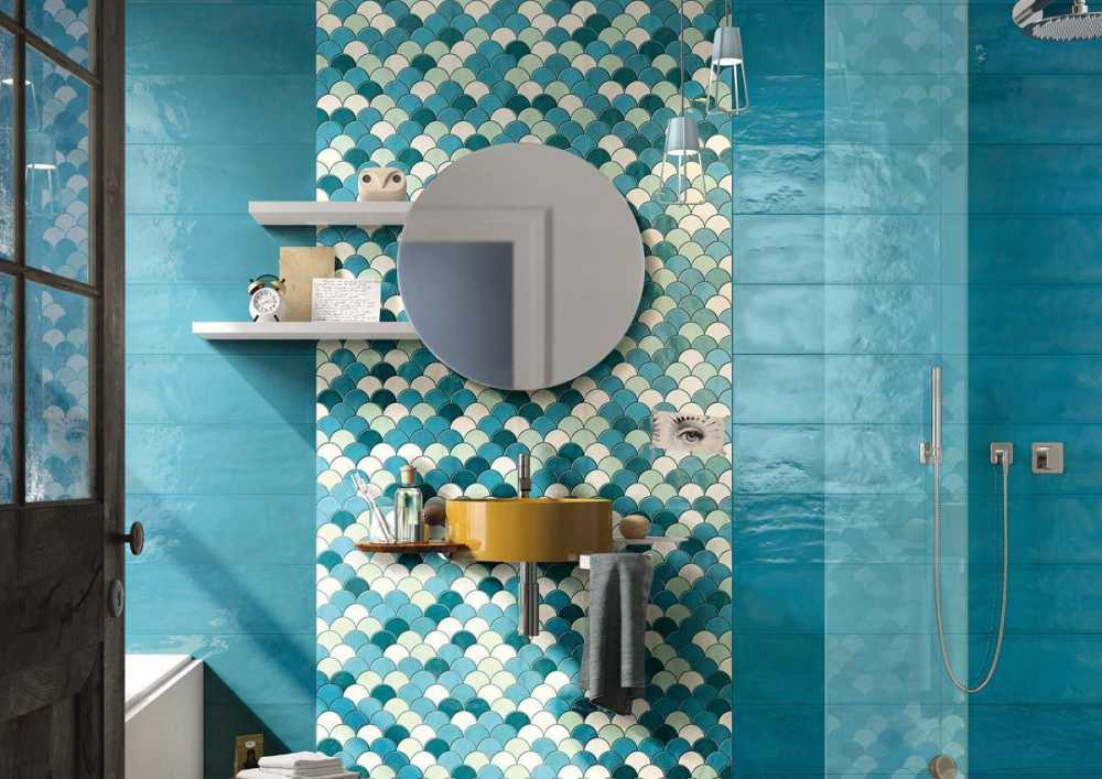 Turkusowe płytki do łazienki kolekcja shades Imola Ceramica