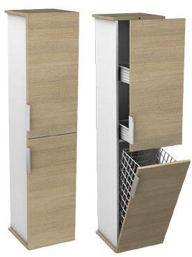 Akcesoria i dodatki do łazienki - kosze na bieliznę ukryte w meblach