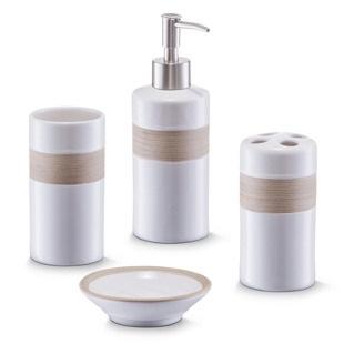 Ceramiczny zestaw akcesoriów łazienkowych BEIGE ZELLER - Emako.pl